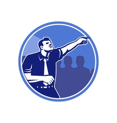 Businessman Pointing Forward Woodcut vector image
