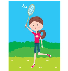 Cartoon girl plays badminton vector
