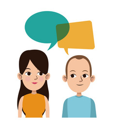 cartoon guy and girl bubble speech talking vector image