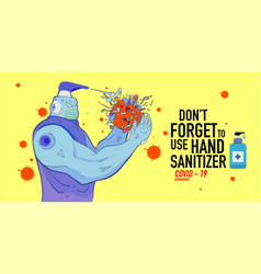 Cartoon hand sanitizer superhero attack corona vector