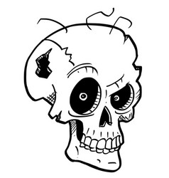 Cartoon or drawing crazy halloween skull vector