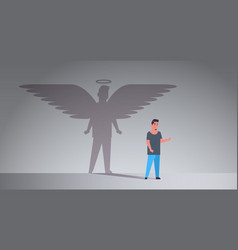 Casual guy with shadow angel imagination vector