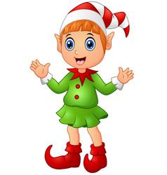 Christmas girl elf character waving hands vector