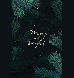 christmas watercolor fir tree branches banner vector image