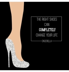 Cinderella shoes inspirational card vector