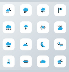 climate icons colored set with moon lightning vector image