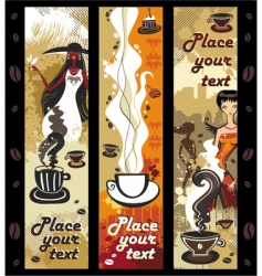coffee girls banners vector image