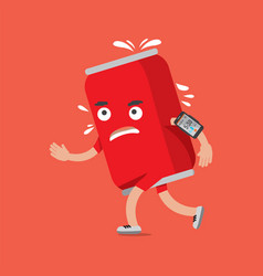 cola can on the run with smartphone health concept vector image