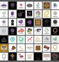 Collection of logos jewelry gold jewelry vector