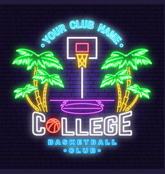 college basketball club neon design vector image