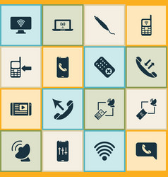 communication icons set with call back satellite vector image
