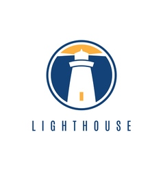 Concept logo template with lighthouse in flat vector