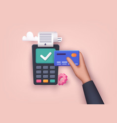 contactless payment male hand holding credit card vector image