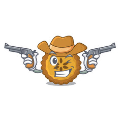 Cowboy apple pie bread on cartoon plate vector