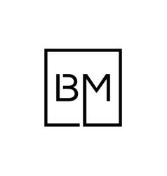 Creative initial letter bm square logo design vector