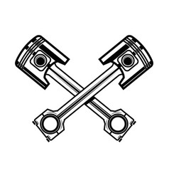 crossed motorcycle pistons design element vector image