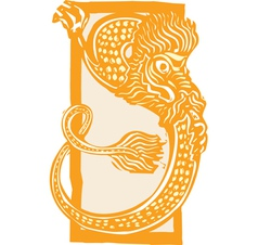 Curled Chinese Dragon Color vector