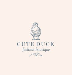 Cute duck abstract sign symbol or logo vector