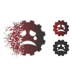 Dispersed pixelated halftone tiers smiley gear vector