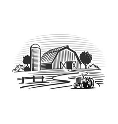 Farm with trees and tractor harvesting hay vector