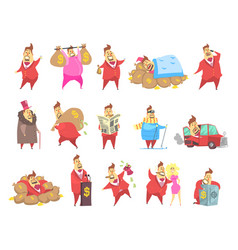 Fat rich millionaire men in red suit funny vector