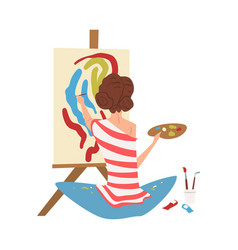 Female artist character drawing on easel with vector