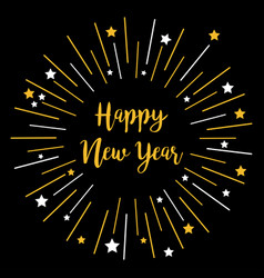 festive fireworks decoration happy new year star vector image