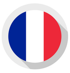 Flag france round shape icon on white vector