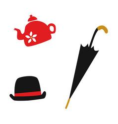 flat british english gentleman symbols set vector image