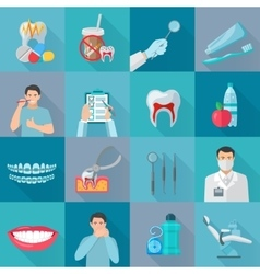 Flat Color Shadow Dental Icons vector