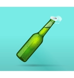 Full green wet bottle opened with flying cap vector image
