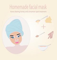 Girl using honey and cinnamon facial mask vector