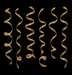 gold curling ribbons or party serpentine vector image