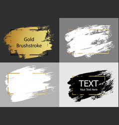 Gold white and black paint stroke with border vector