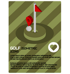 Golf color isometric poster vector