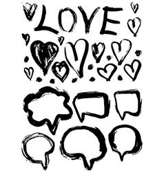 Grunge set speech bubbles and hearts grungy vector
