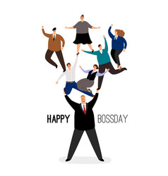 happy bossday leader man with employees team vector image