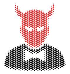 Hexagon halftone devil icon vector
