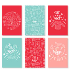Hygge cards with hand drawn cozy home vector