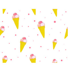 ice cream seamless pattern summer cute background vector image