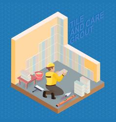 Isometric interior repairs concept tiler is tying vector