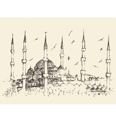 Istanbul Turkey Vintage Engraved Sketch vector