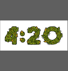 Lettering design weed number time 420 vector