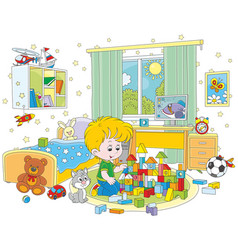 Little boy playing with bricks vector