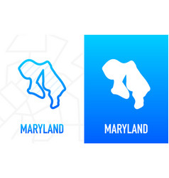Maryland - us state contour line in white vector