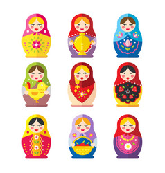 Matryoshka or babushka dolls set in a flat style vector