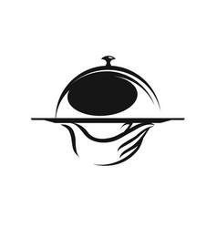 menu restaurant food service logo hand holding vector image