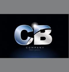 Metal blue alphabet letter cb c b logo company vector
