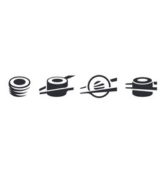 monochrome set sushi and rolls restaurant logo vector image