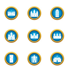 Monumental icons set flat style vector